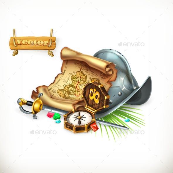 Old Treasure Map and Conquistador Helmet