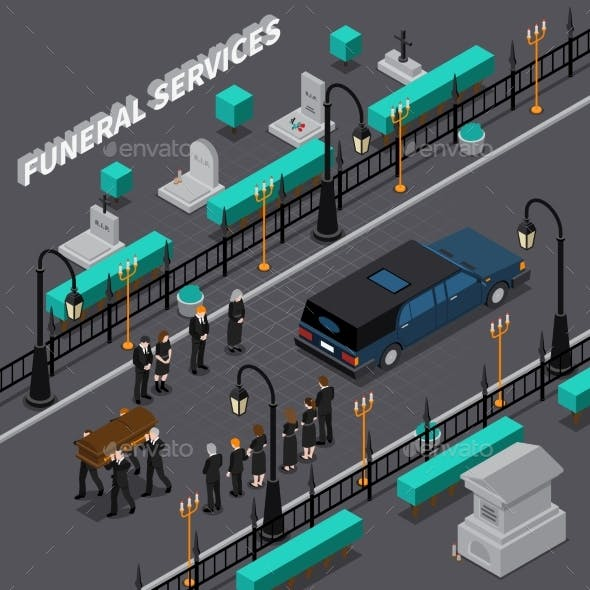 Funeral Services Isometric Composition