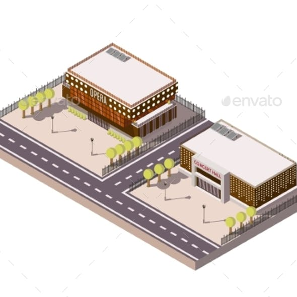 Entertainment Places Isometric Set