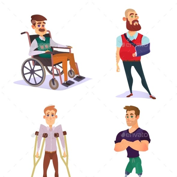 Set of Cartoon Illustrations of People