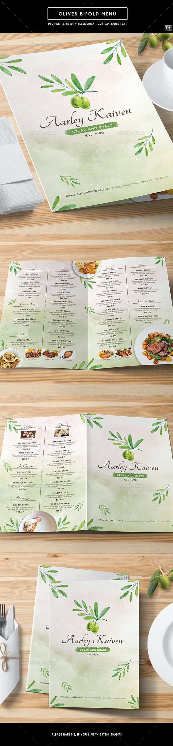 Olives Bifold Menu - Food Menus Print Templates