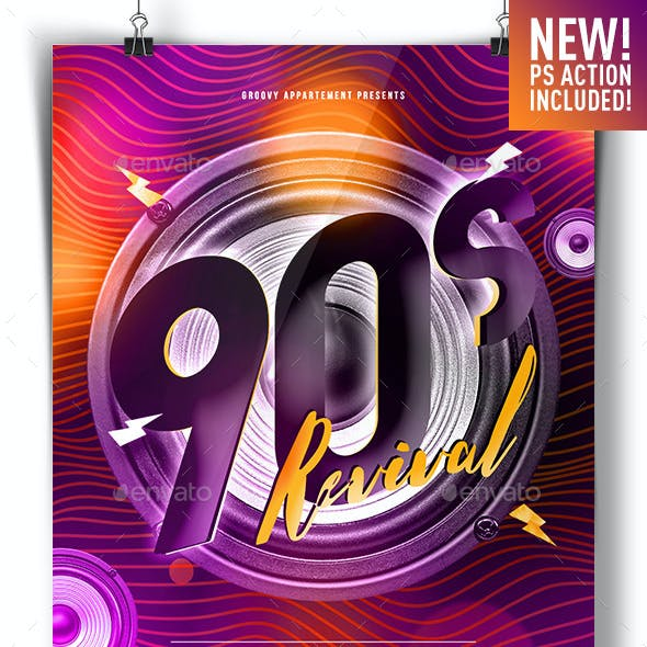 90s Revival Flyer Template + GIF Animation Action