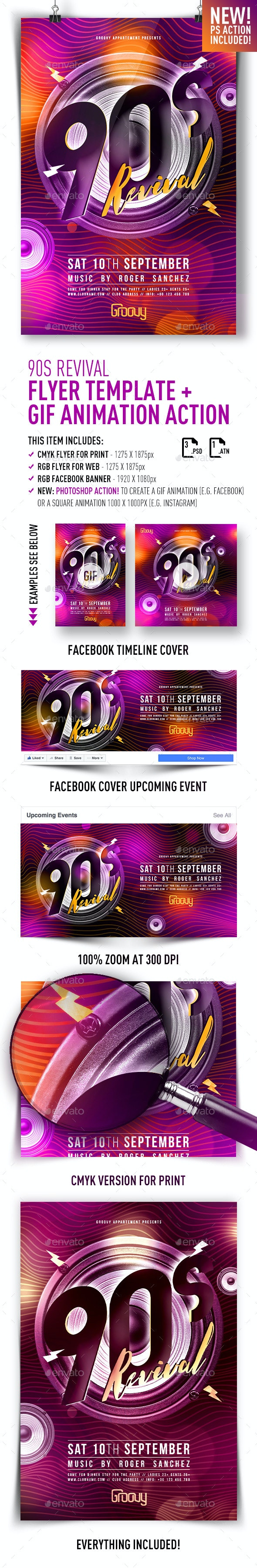 90s Revival Flyer Template + GIF Animation Action - Clubs & Parties Events