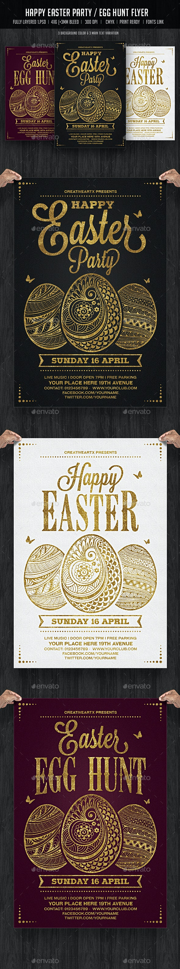 Happy Easter Party / Egg Hunt Flyer - Events Flyers