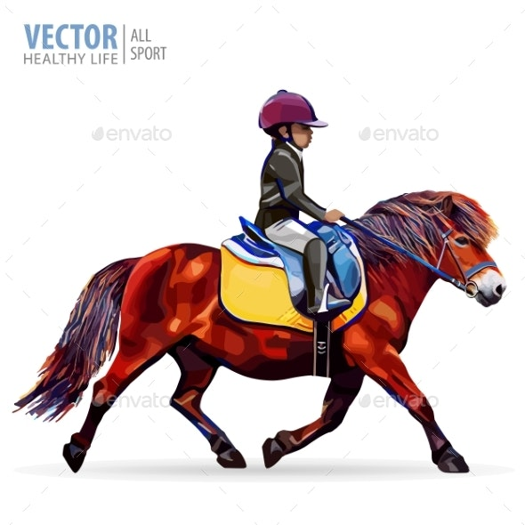 Boy Jockey Riding a Horse - Sports/Activity Conceptual
