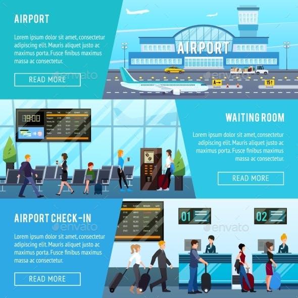 Airport Horizontal Banners Set