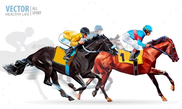 Four Racing Horses Competing with Each Other - Sports/Activity Conceptual