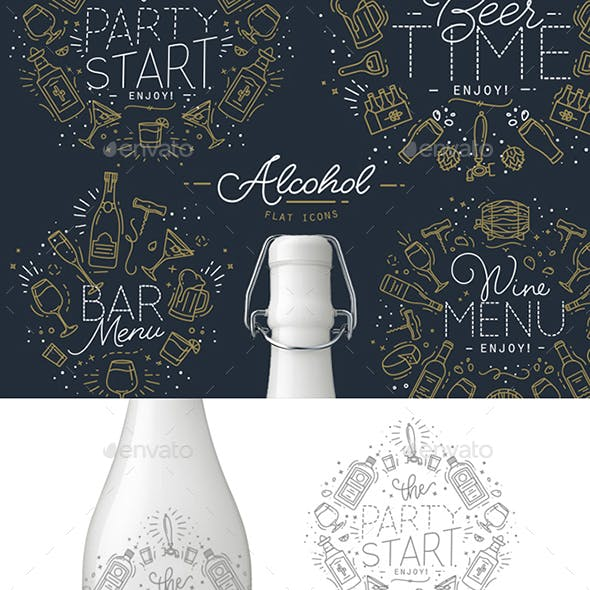 Alcohol Icons And Monograms