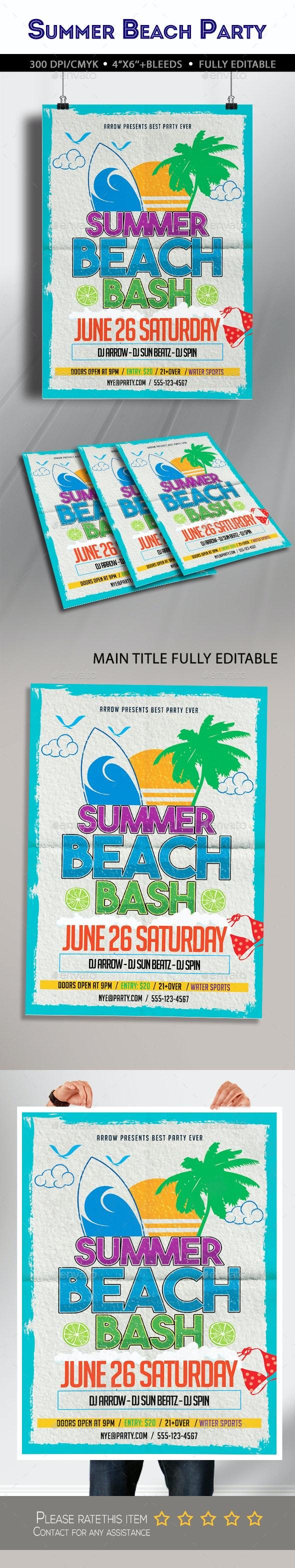 Summer Beach Bash Flyer - Clubs & Parties Events