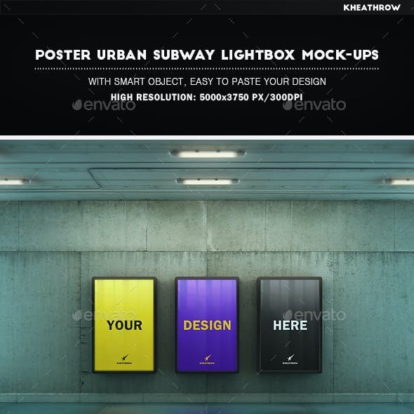 Poster Urban Subway Lightbox Mock-Ups