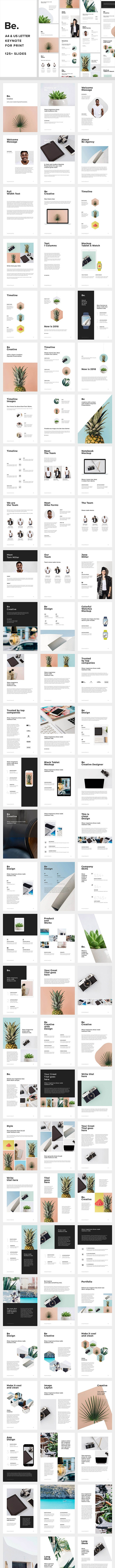 Be. A4 + US Letter Keynote Presentation for Print - Creative Keynote Templates