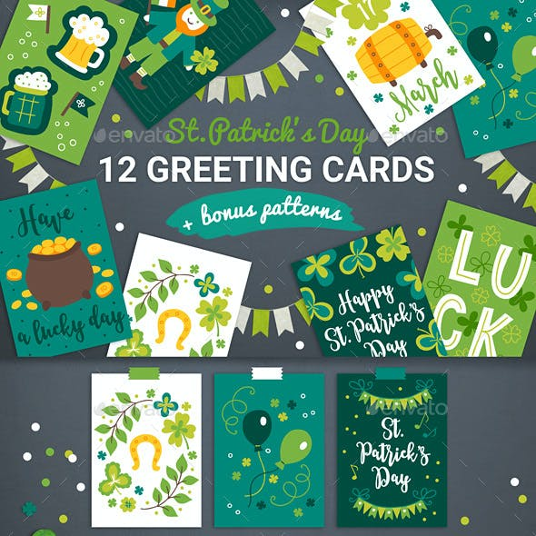 12 Patrick Cards + 3 Seamless Patterns