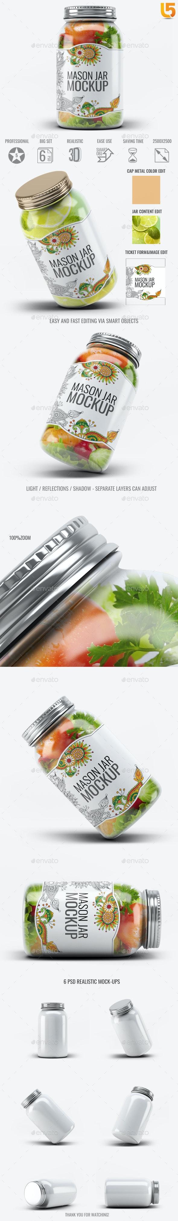 Mason Jar Mock-Up V.1 - Food and Drink Packaging
