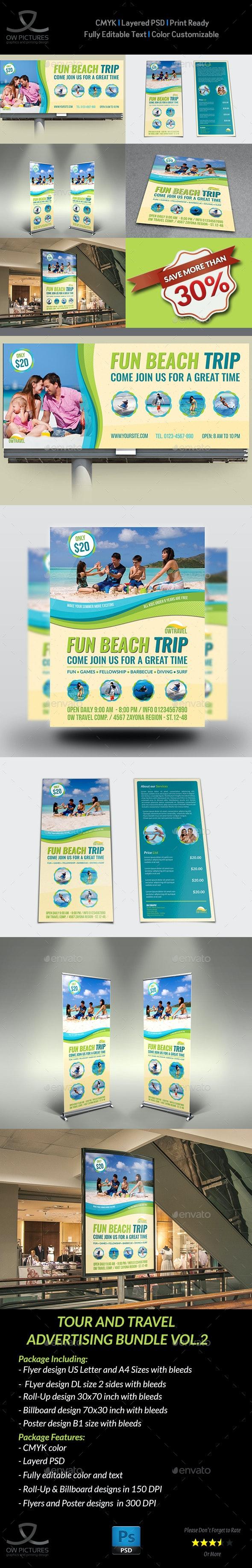 Tour and Travel Advertising Bundle Vol.2 - Signage Print Templates
