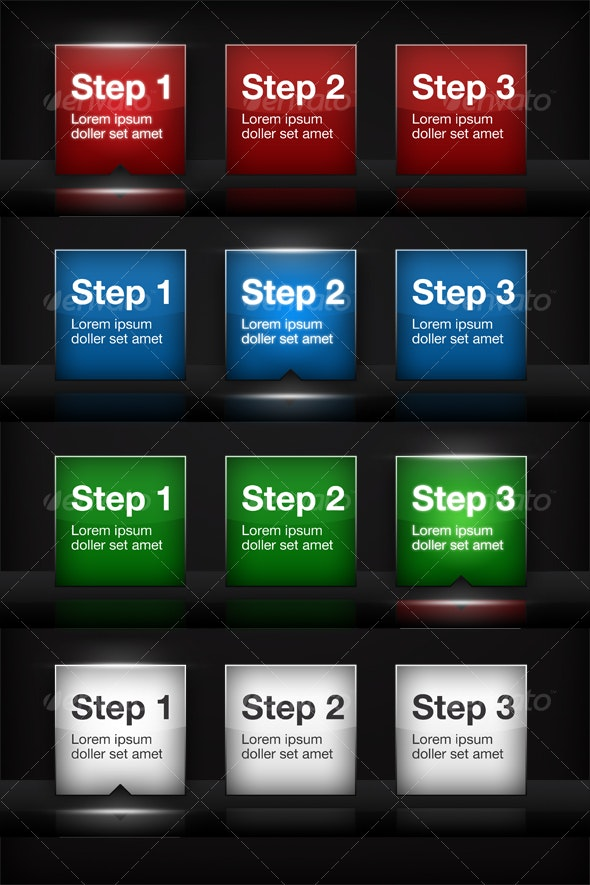 Illuminated 3 Step Process - 24 Buttons! - Buttons Web Elements