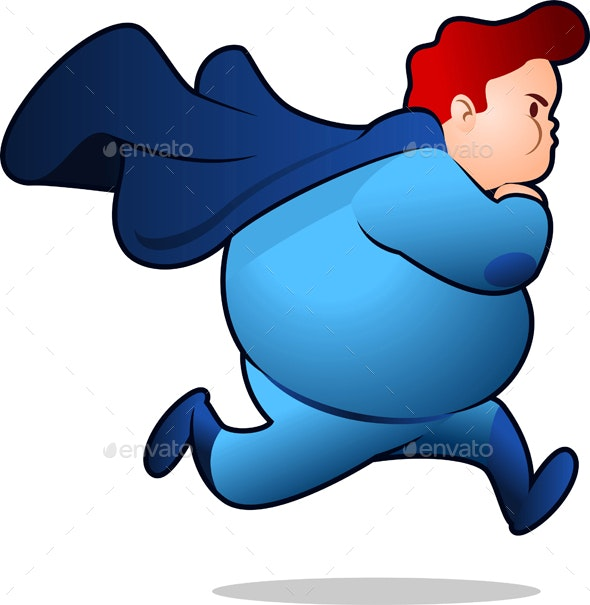 Chubby Superhero Running - People Characters