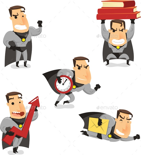 Cartoon Office Superhero - People Characters