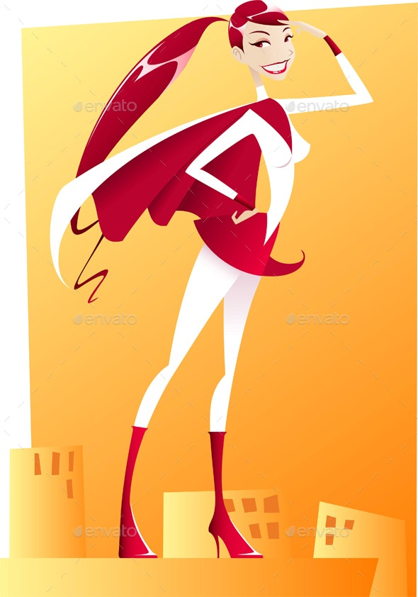 Cartoon Super Girl - People Characters