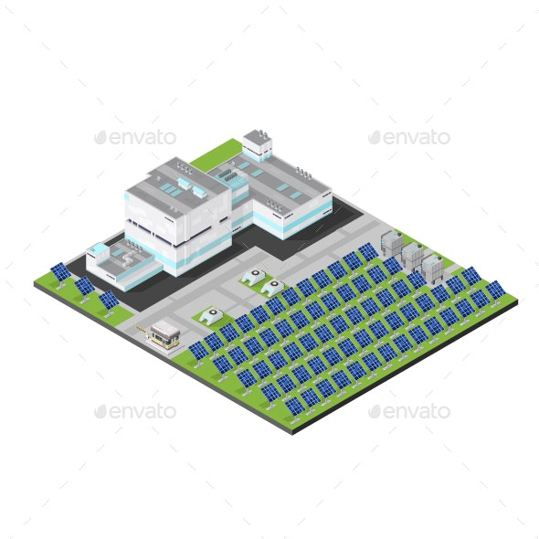 Isometric Solar Powerstation - Buildings Objects