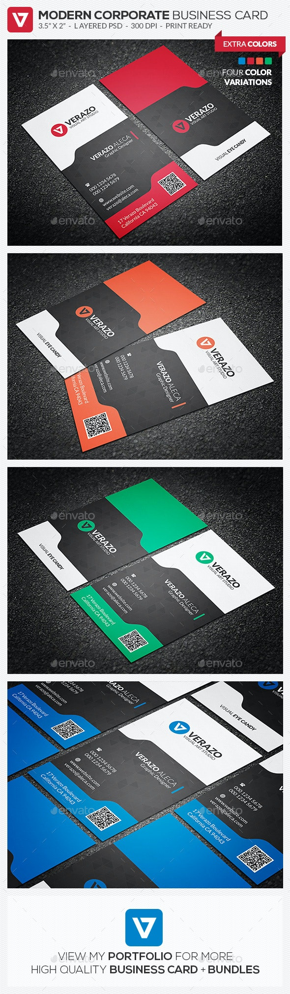 Modern & Stylish Vertical Business Card Template - Corporate Business Cards