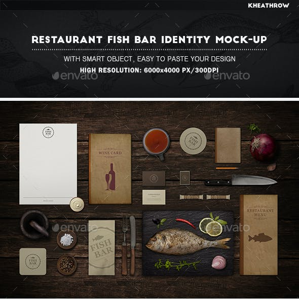 Restaurant Fish Bar Identity Mock-Up
