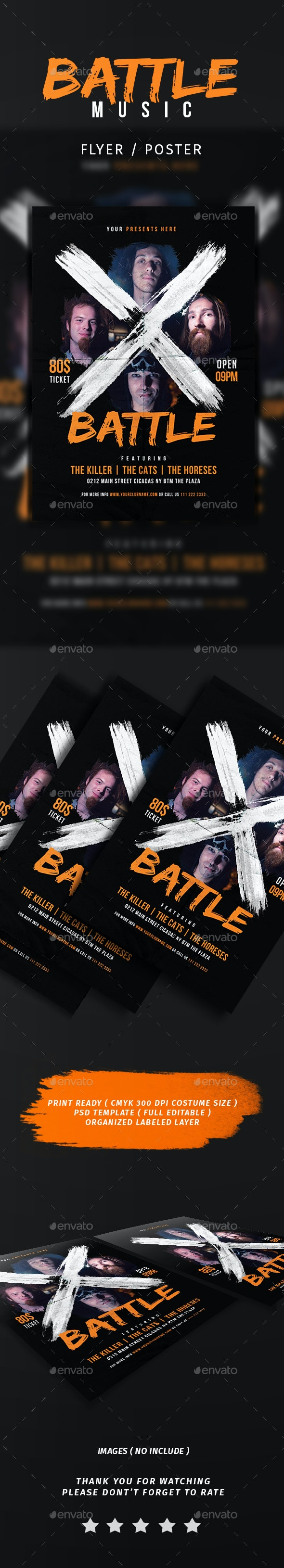 X Battle Music Flyer - Events Flyers