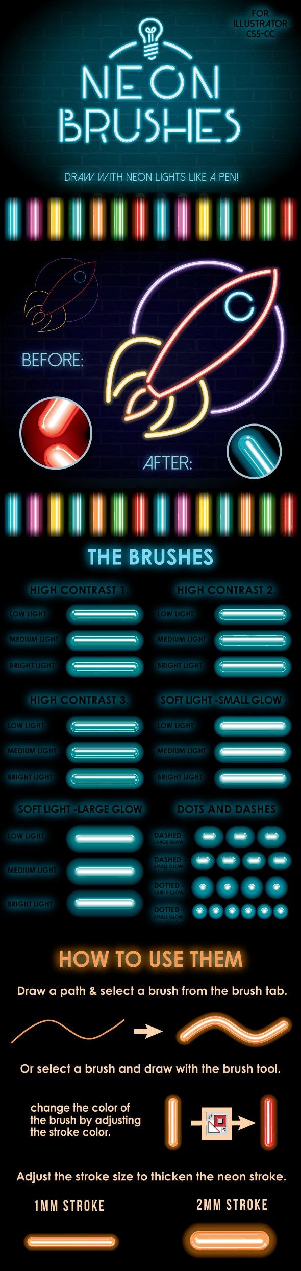 Neon Brushes - Brushes Illustrator
