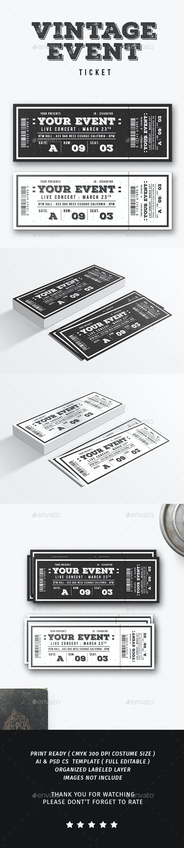 Vintage Event Ticket - Events Flyers