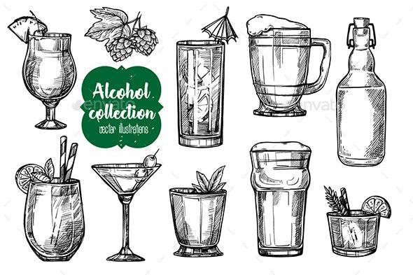Alcohol Vintage Illustration - Food Objects