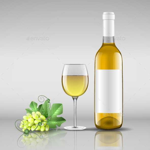 Bottle of White Wine with Glass - Food Objects