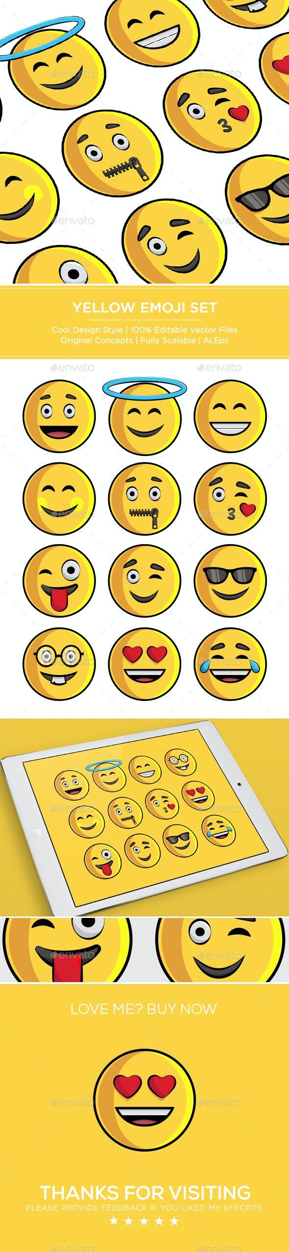 Yellow Emoji Set - Miscellaneous Seasons/Holidays