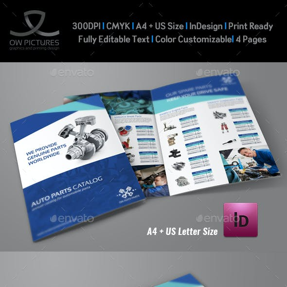 Auto Parts Catalog Bi-Fold Brochure Template