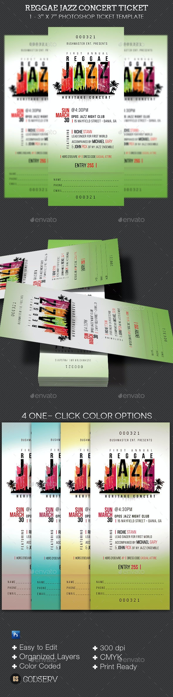 Reggae Jazz Event Ticket Template - Miscellaneous Print Templates