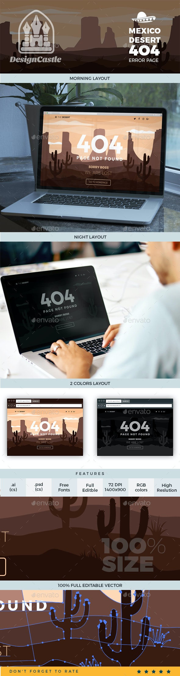 Mexico Desert Error 404 Page Template - 404 Pages Web Elements