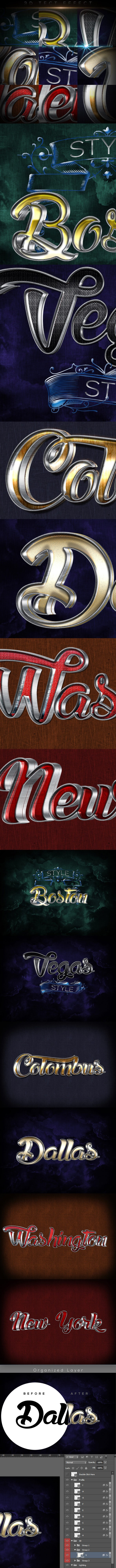 3D Text Effect B160924 - Styles Photoshop