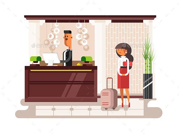 Lobby Hall Hotel Illustration - People Characters