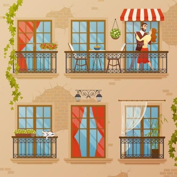 Classic Window Balconies Composition