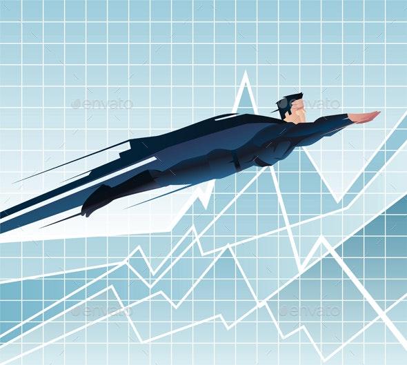 Businessman Superhero Flying - Concepts Business