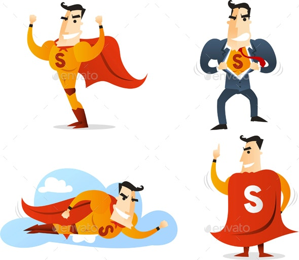 Cartoon Superhero Action Set 1 - People Characters