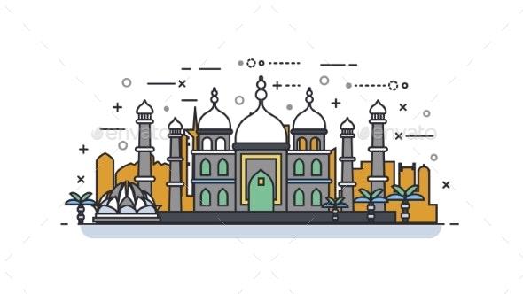 India Icon Linear Style - Decorative Symbols Decorative