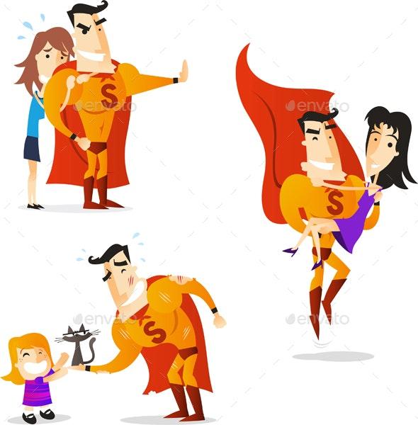 Cartoon Superhero Action Set 4 - People Characters