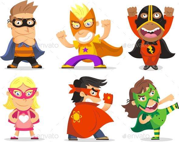 Children Dressed in Superheroes Costumes - People Characters