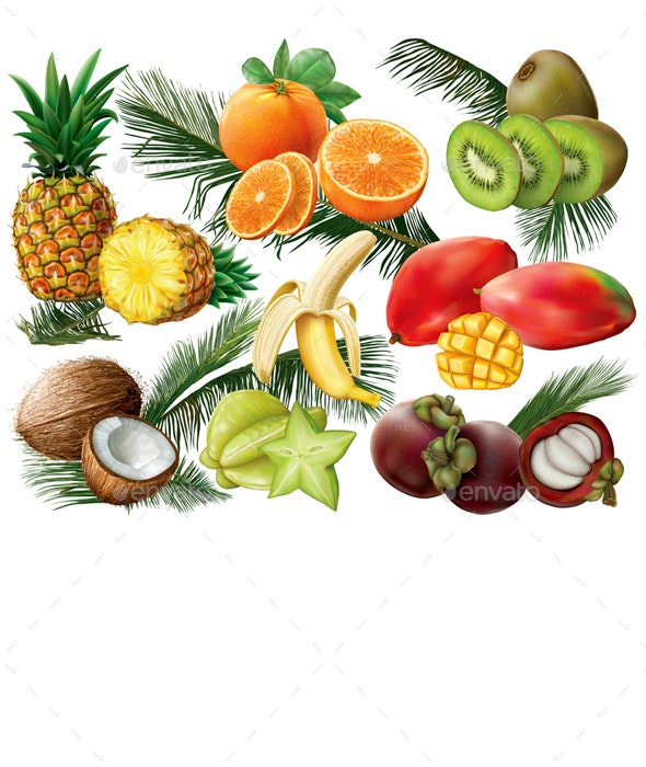 Tropical Fruits with Palm Leaves - Organic Objects Objects