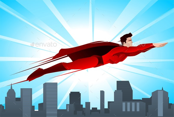 Super Hero Flying Over the City - People Characters