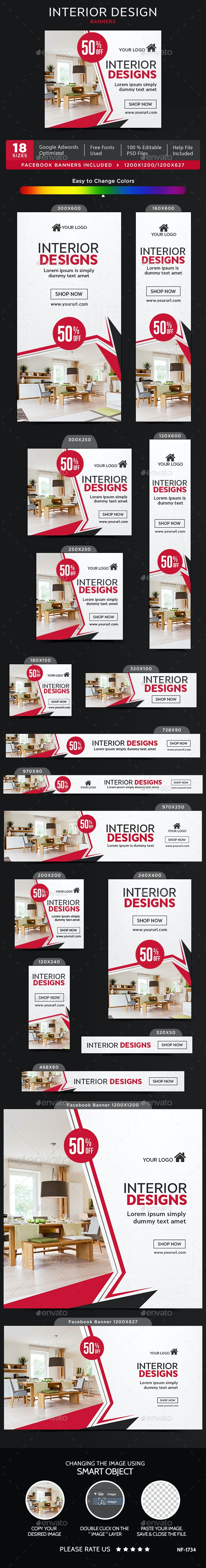 Interior Design Banners - Banners & Ads Web Elements