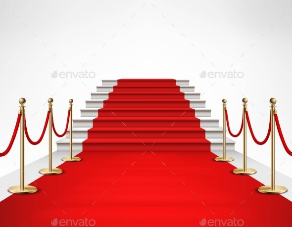 Red Carpet White Stairs Realistic Illustration - Backgrounds Decorative