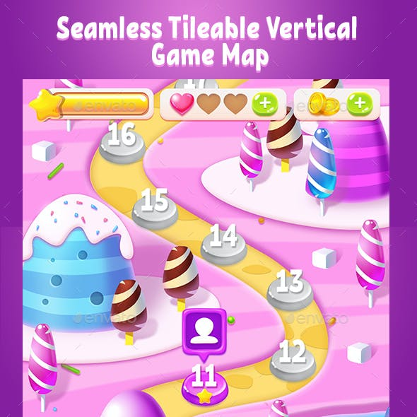 Tileable Seamless Candy Vertical Game Map