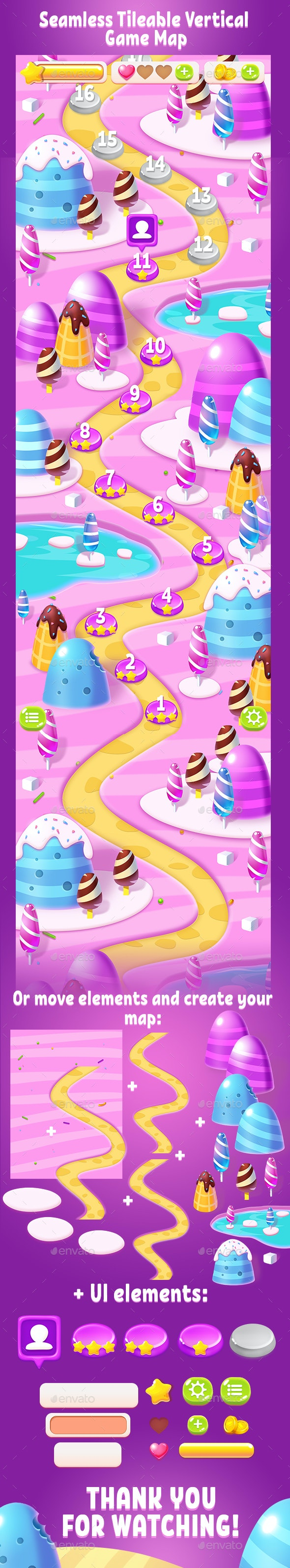 Tileable Seamless Candy Vertical Game Map - Backgrounds Game Assets