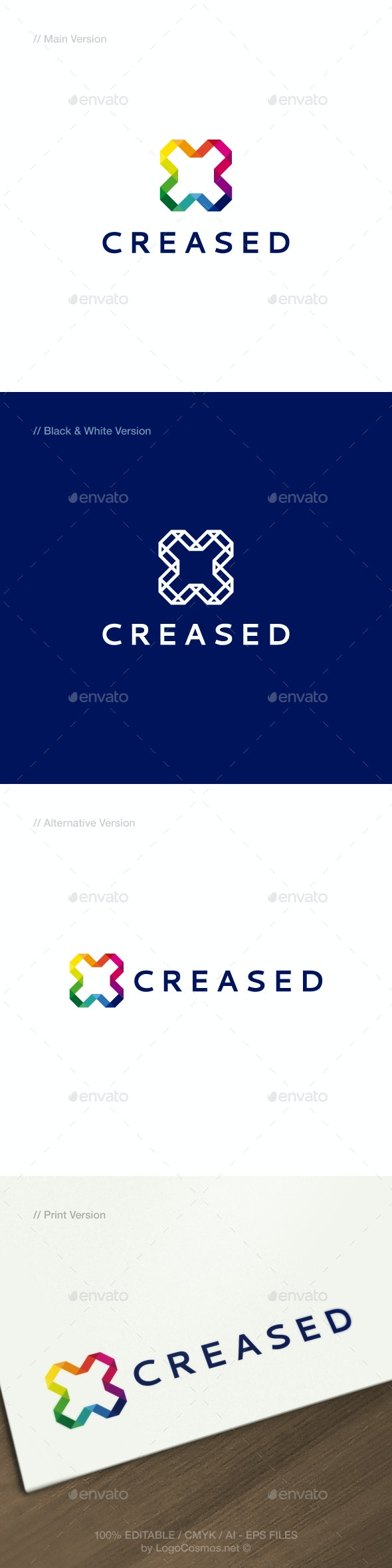 Creased Abstract & Modern Logo - Abstract Logo Templates
