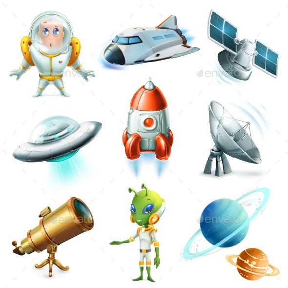 Space, Spaceship, Planet, Spaceman, Ufo And Satellite - Vectors